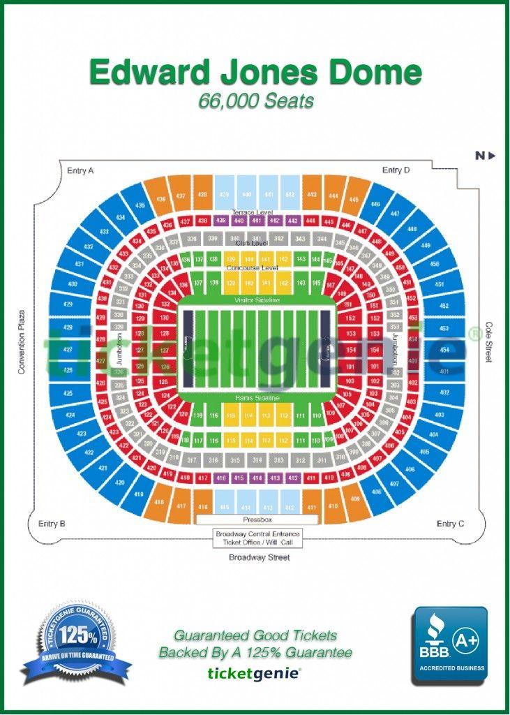 Ticketgenie map edward jones dome stadium know where your sitting