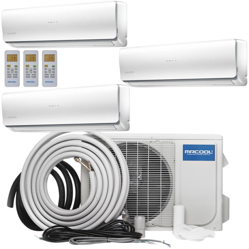 Mrcool Olympus 48 000 Btu 4 Ton Ductless Mini Split Air Conditioner And Heat Pump 25 Ft Install Kit 230 Volt 60hz Multi248hp230wm09kit25 The Home Depot Ductless Mini Split Ductless Heating Ductless Heat Pump