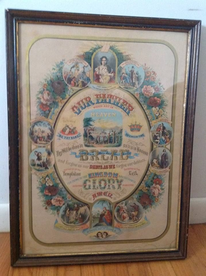 1891 Religious Litho Featuring The Lords Prayer And The Ten