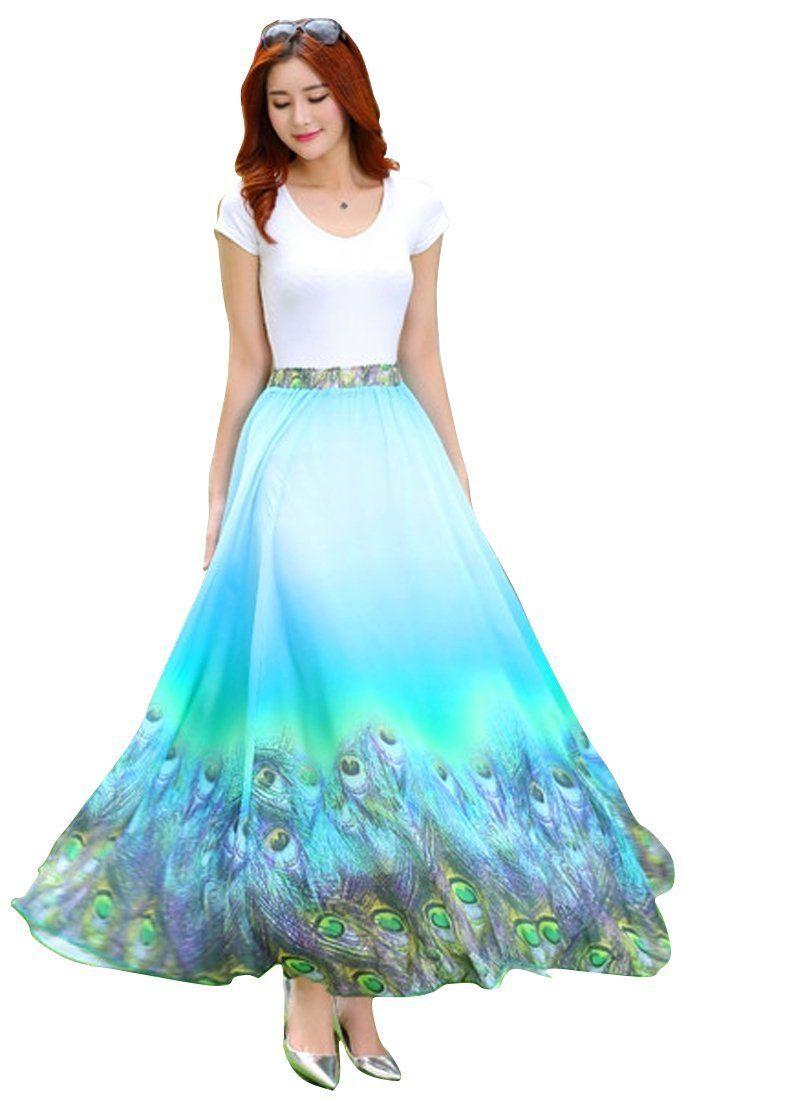 WIN13 Fancy Designer Sky Blue Faux Georgette Skirt : Joctoc Color ...