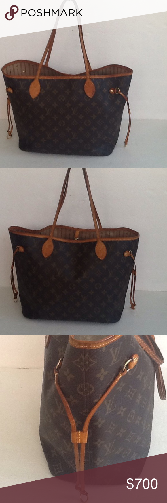 Authentic Louis Vuitton Never-full MM Monogram Bag Straps and leather trim showed signs of used and are darker in the middle. The canvas is in a good condition. The date code is CA 1038. Some light ink stains inside the bag Louis Vuitton Bags Shoulder Bags