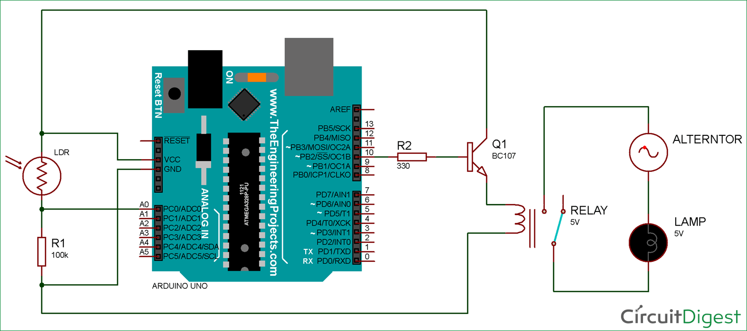 Arduino Light Sensor Circuit diagram using LDR and Relay | Electronic Circuits in 2019 | Light