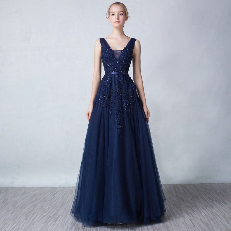 Günstig Chic A Linie Rückenfrei Lang Abendkleid in Blau ...