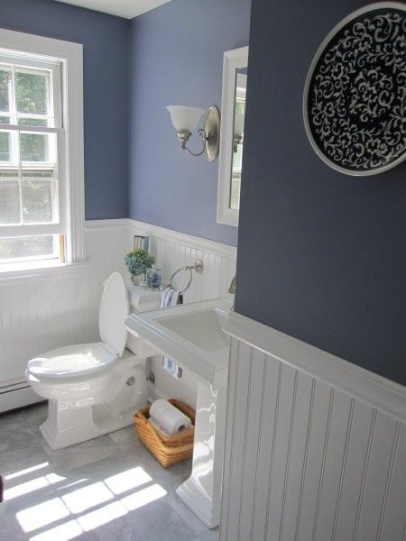 Half bath remodel with beadboard wainscoting simple for Bathroom wainscoting ideas