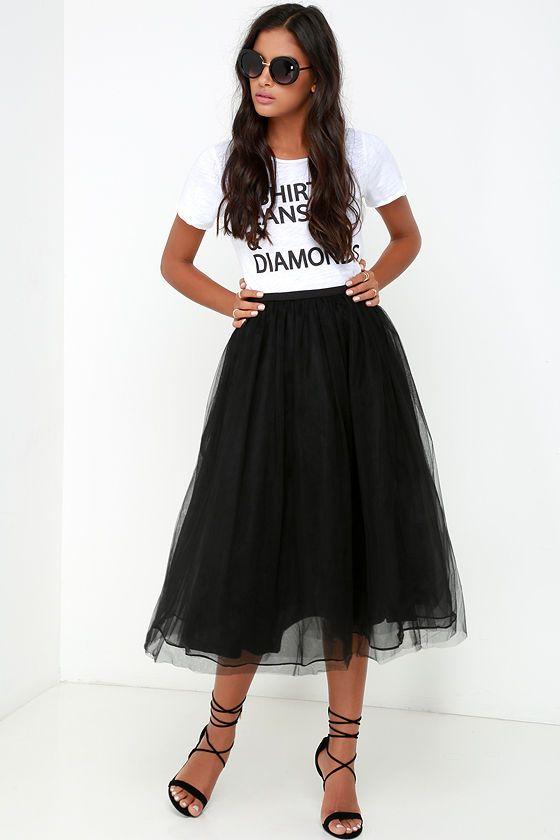 ffbab0fbf4 New York Midi Girl Black Tulle Skirt in 2019 | Classy & Chic | Black ...