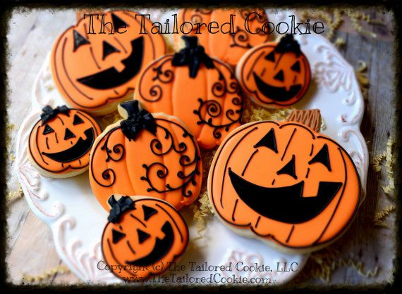 Decorated Assorted Halloween Cookies, Jack O'Lantern, Swirly Pumpkins, Mini Pumpkins, Sugar Cookies, Shortbread Sugar Cookies, Favors #halloweencookiesdecorated