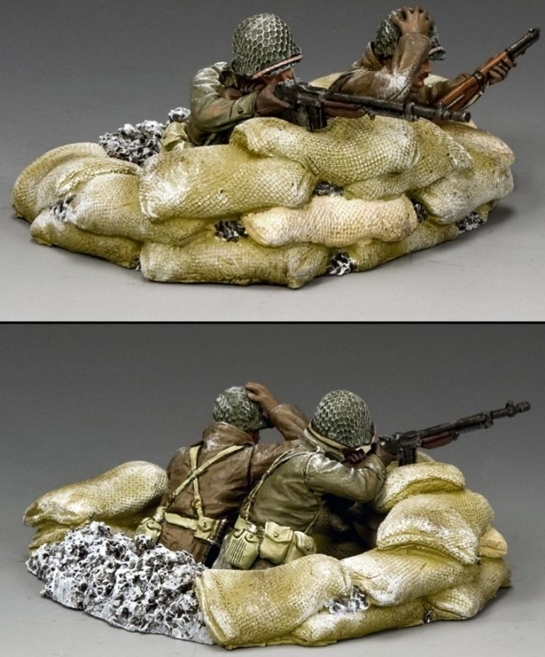 World War II U.S. Battle of the Bulge BBA075 U.S. G.I. B.A.R. Gunner set - Made by King and Country Military Miniatures and Models. Factory made, hand assembled, painted and boxed in a padded decorative box. Excellent gift for the enthusiast.