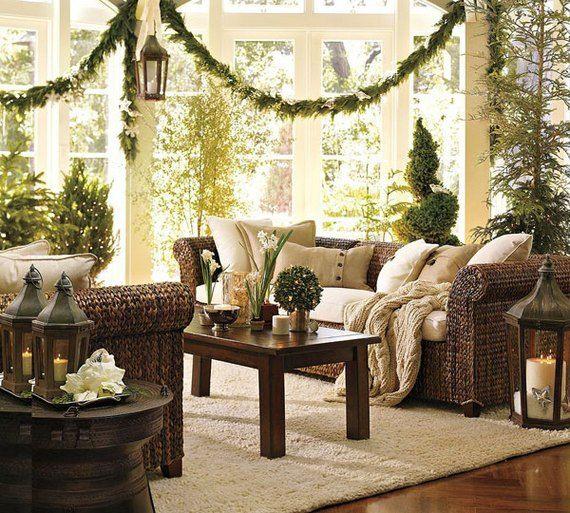 Wonderful Natural Stunning Sunroom With Fresh Green Themed For Christmas Interior  Decoration Sunroom Living Room Design Ideas