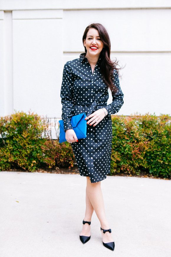 good service wide varieties large discount Dallas Wardrobe pairs her Brooks Brothers women's polka dot ...