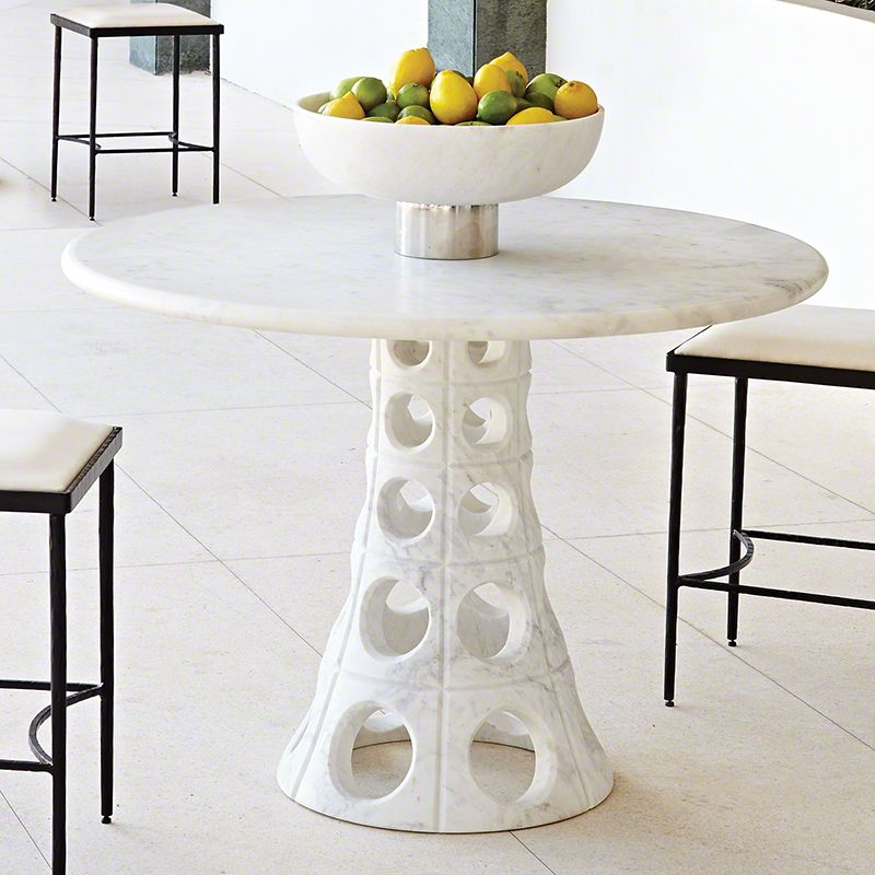 Solid marble Circle Dining Table Breakfast Room 40d x 28h