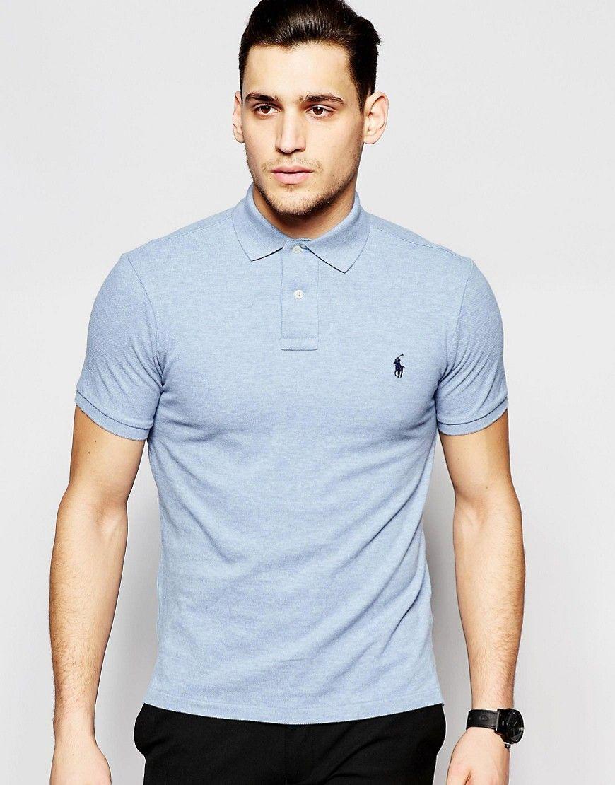 Polo ralph lauren polo shirt with logo in light blue slim for Ralph lauren logo shirt