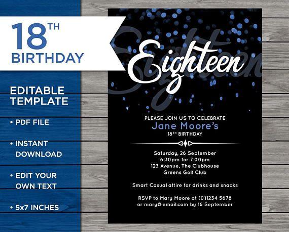 18th Birthday Invite Customisable Birthday invitation 18 18 50