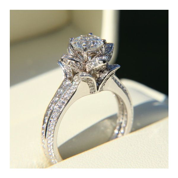 Gorgeous UNIQUE Flower Rose Diamond Engagement Ring ($12,000) found on  Polyvore Some day.