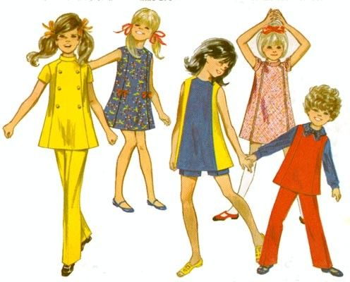 1960s Tunic A Line Dress or Jumper, Flared Pants and Shorts Butterick 5342 Toddlers Military look Vintage 60s Sewing Pattern Size 4 by sandritocat on Etsy
