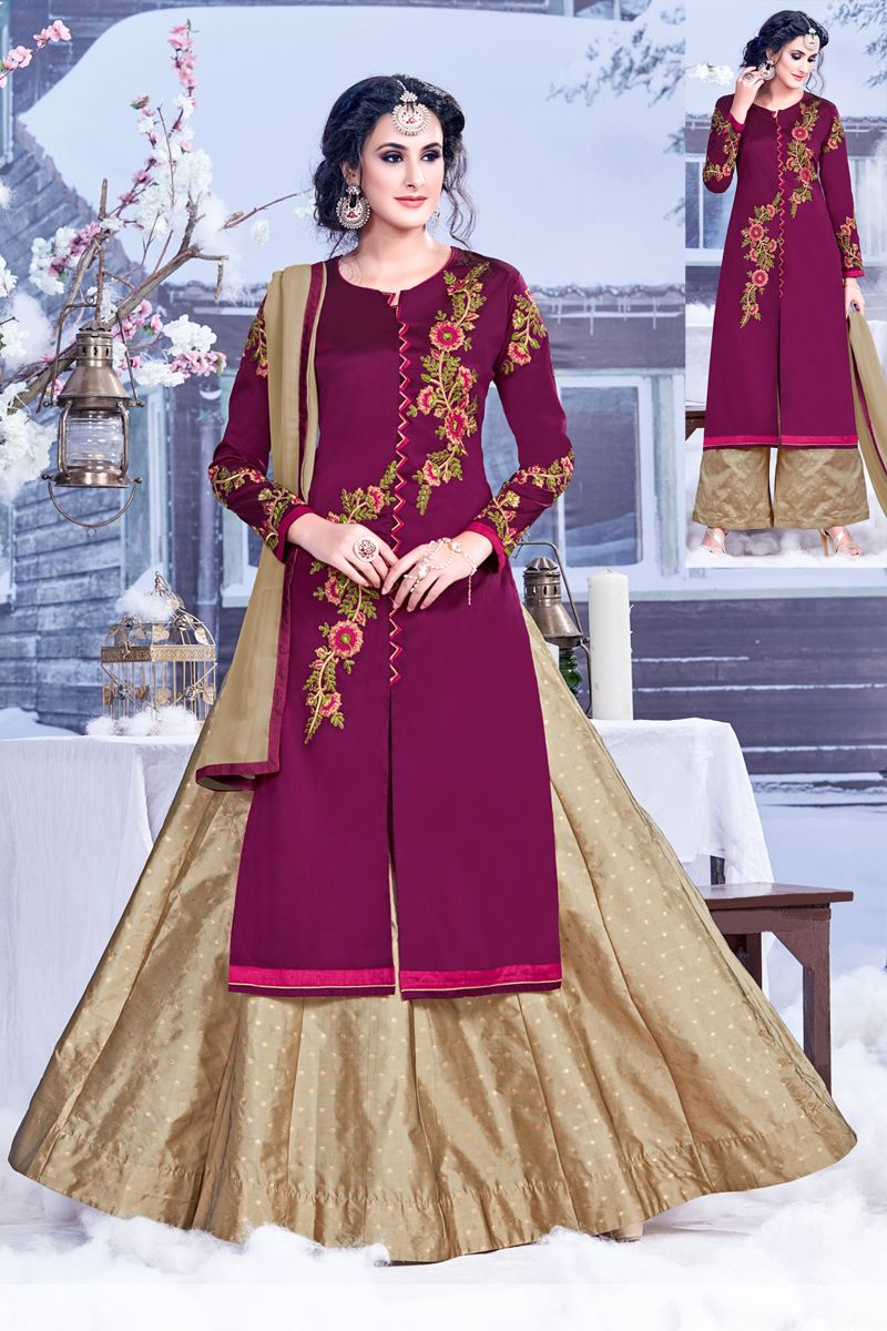 Purpledesignerfestivalandweddingwearindowesternstylesalwar