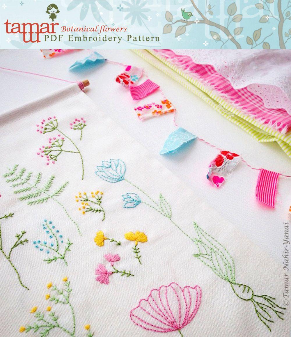 Embroidery pattern needlecraft design instant download botanical
