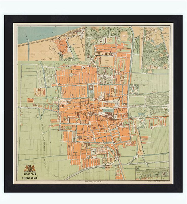 Old Vintage Map of The Hague Den