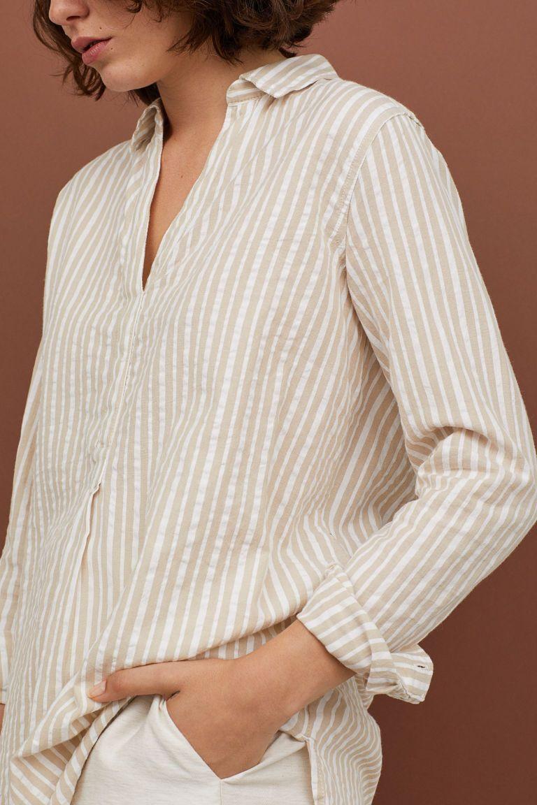 b97715dc646 Длинная хлопковая рубашка - Бежевый Белая полоска - Женщины