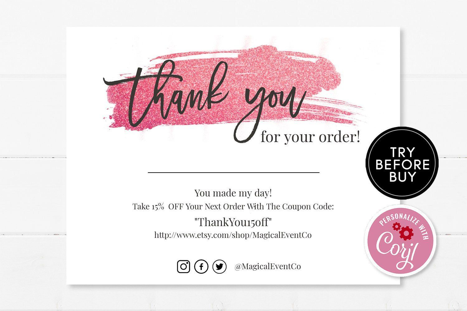 Business Thank You Insert Card, Rose Gold Customer Thank