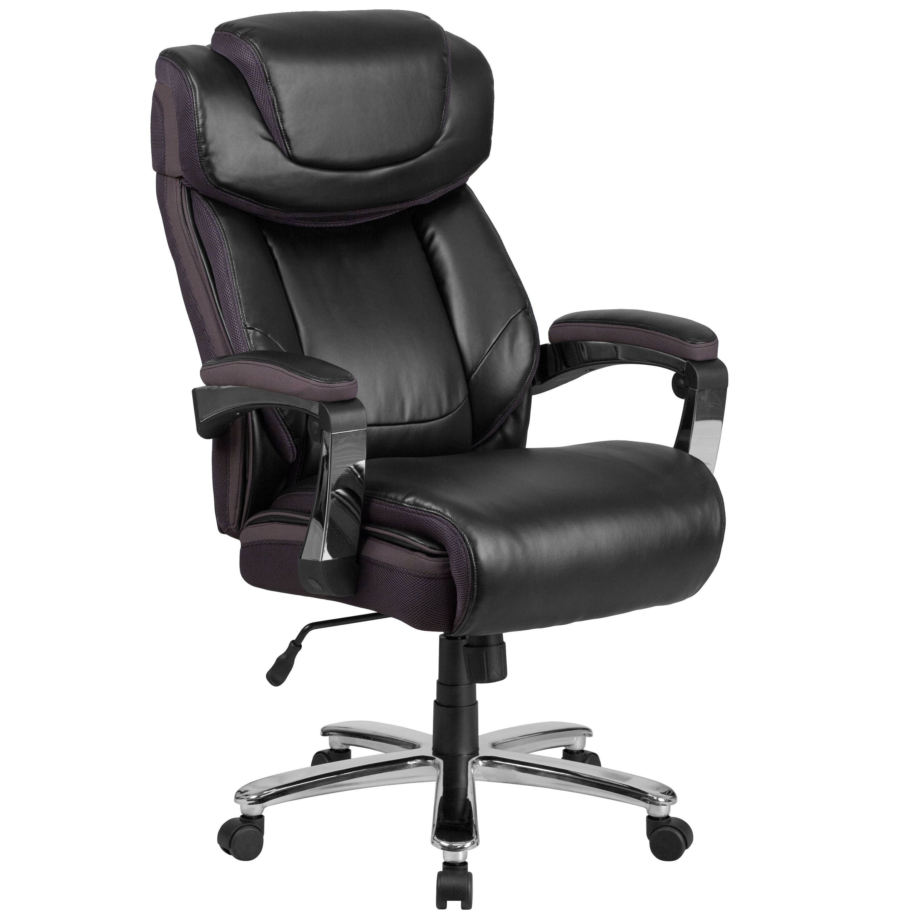 Executive big and tall black leather adjustable swivel office chair