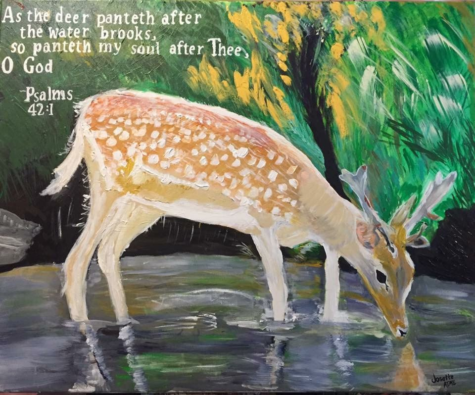 Deers On Water, Quotes Painting Psalm 42:1, Christian Art Painting With Quote.- A deer On A Stream By Josette Atme. Size 30