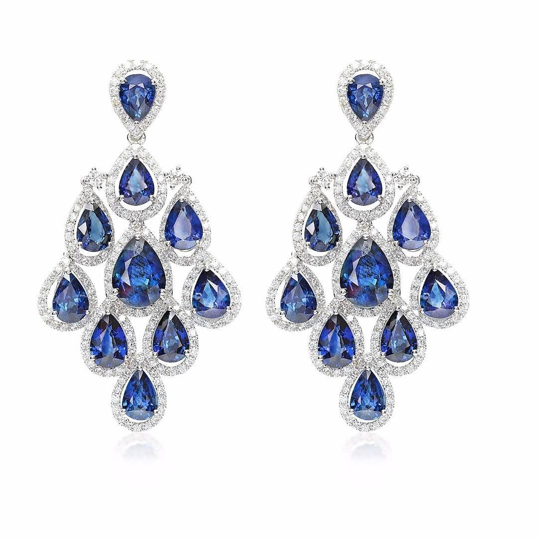 be9ce744 Introducing another type of Monday Blues - drop shaped sapphire chandelier  earrings by Edelweiss Jewellery Company
