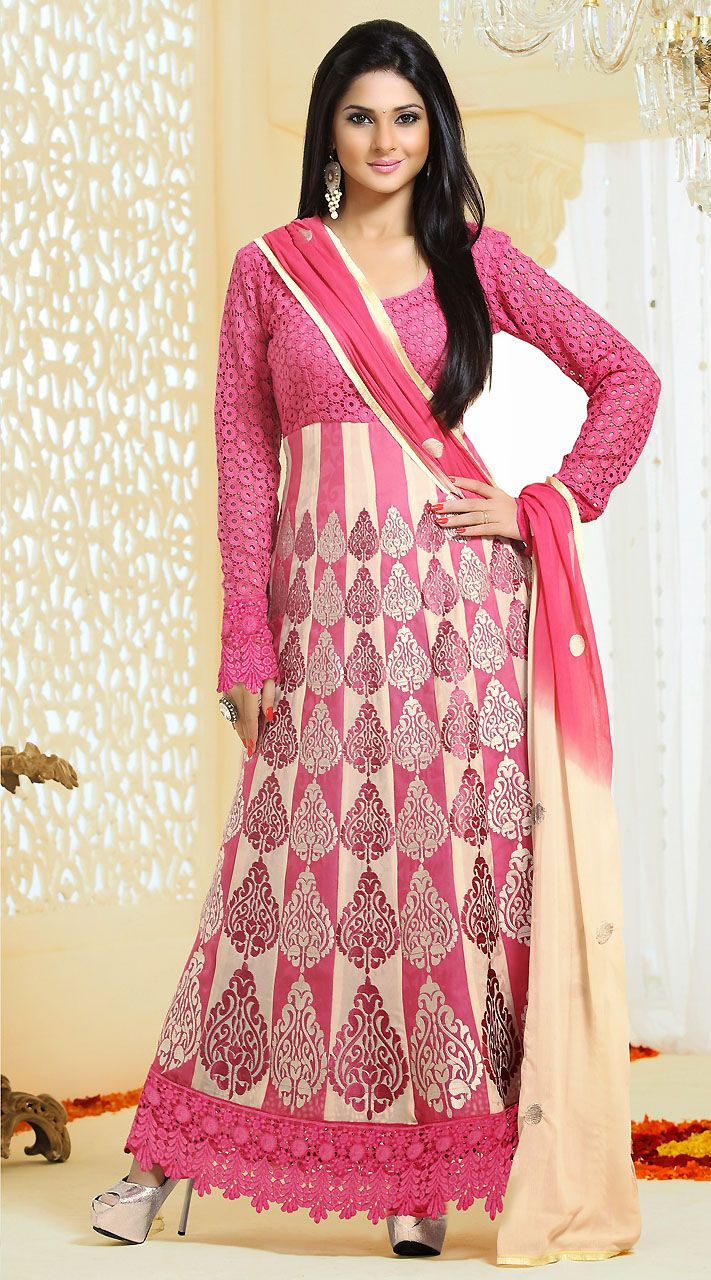 Pink Bold Butta Work TV Actress Kumud Salwar Kameez | Indian Tv ...