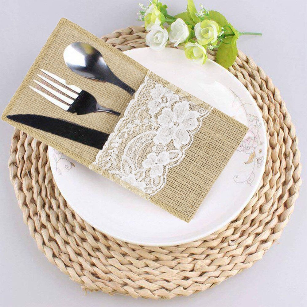 Details About 20pcs Hessian Burlap Cutlery Holder Lace Rustic