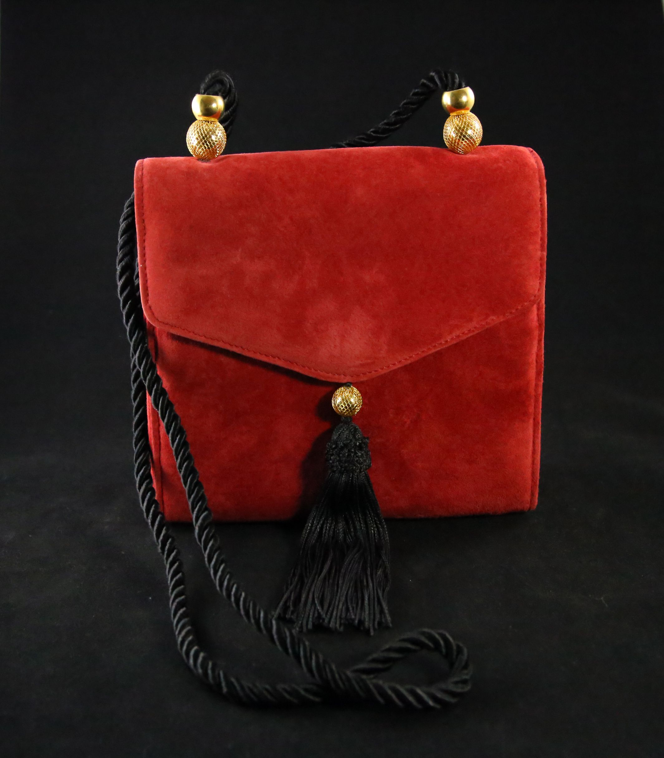Vintage 80s Purse Cherry Red Suede with Asian 50s Inspired Gold Accent Tassel Shoulder Bag Purse