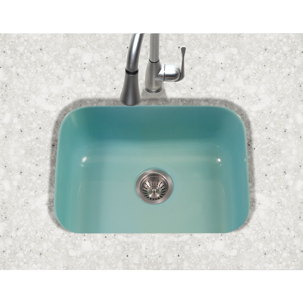 Inject An Unexpected Spot Of Color When You Install This Bar Prep Sink From Houzer Single Sink Kitchen Kitchen Sink Enameled Steel