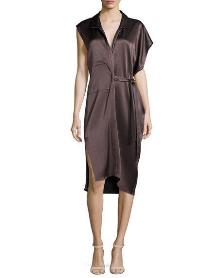 e14cdd46053b HALSTON HERITAGE Asymmetric Satin Shirtdress W/ Sash, Brown, Night. # halstonheritage #cloth #