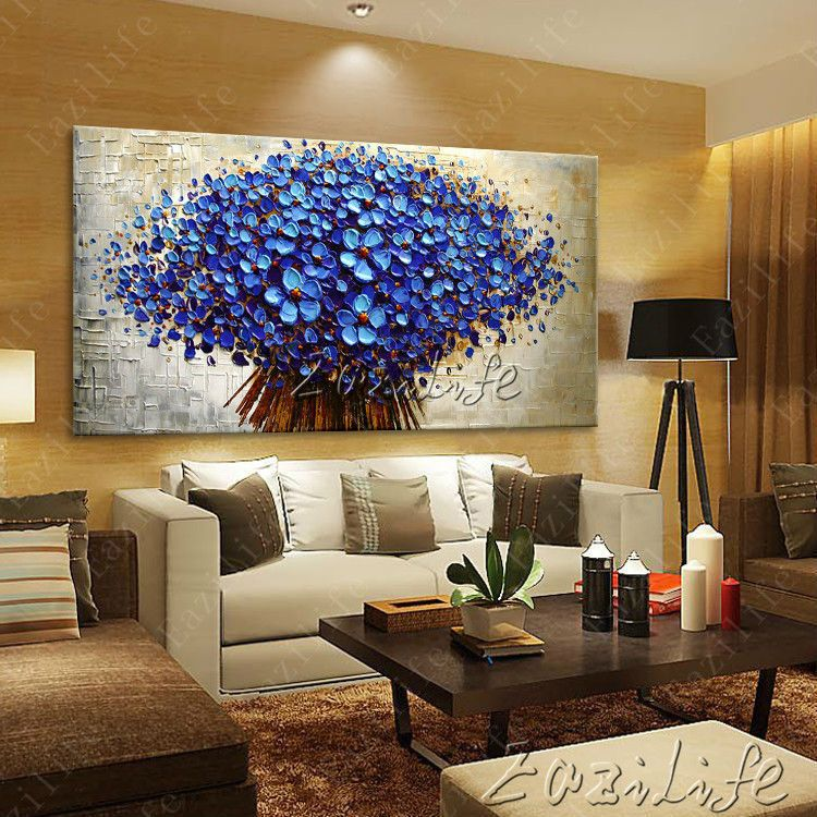 Aliexpress Com Buy Wall Painting Flower Hand Painted Palette Knife 3d Texture Flower Hand Painted Canva Wall Painting Flowers Wall Art Pictures Wall Painting