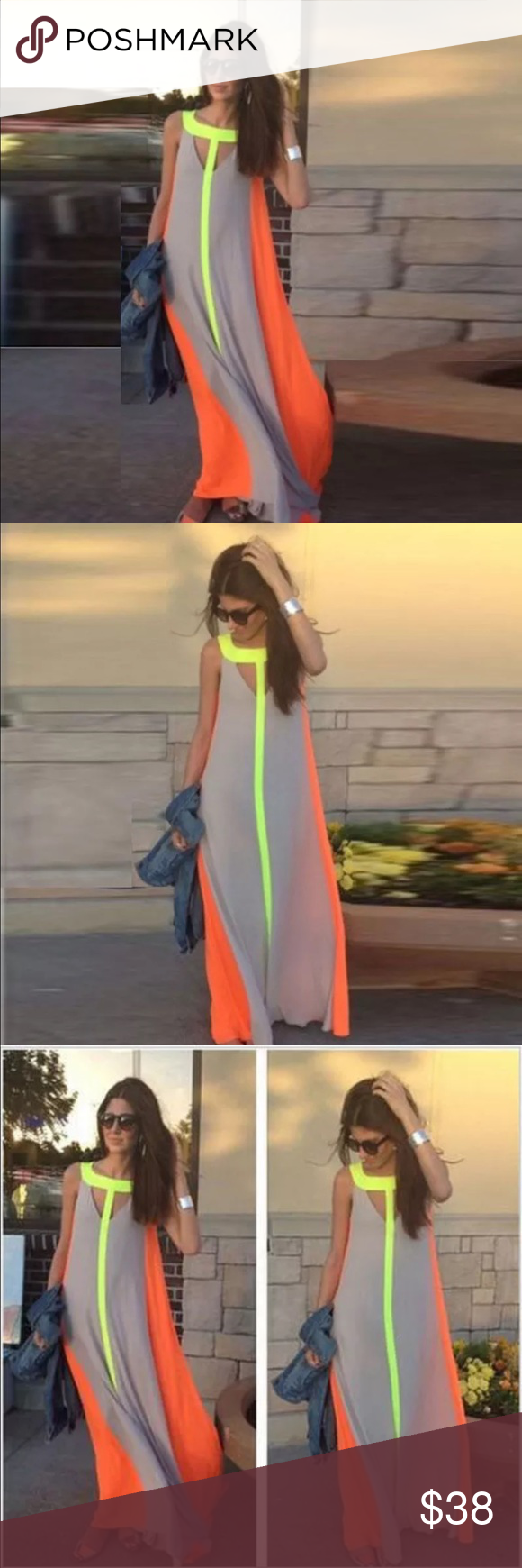 Brank new colorful long maxi dress nwt dresses dresses maxi
