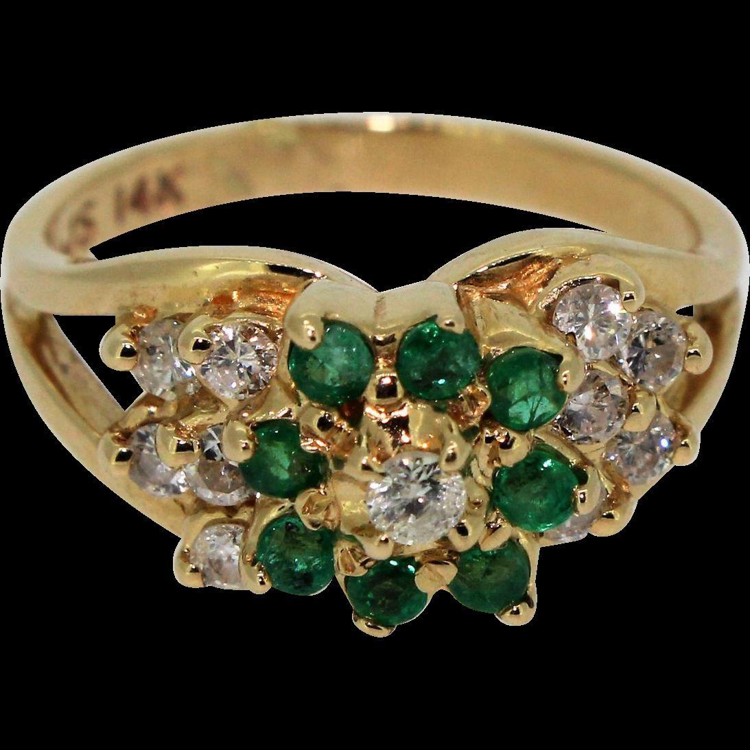 272c134b70 Vintage 14k Yellow Gold Emerald Flower & Diamond Cluster Ring in ...