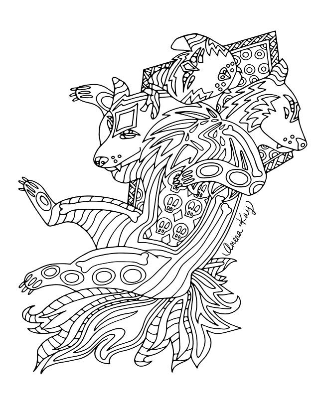 Cerberus From Zen Legends Coloring Book By Artist Amena Kay Via