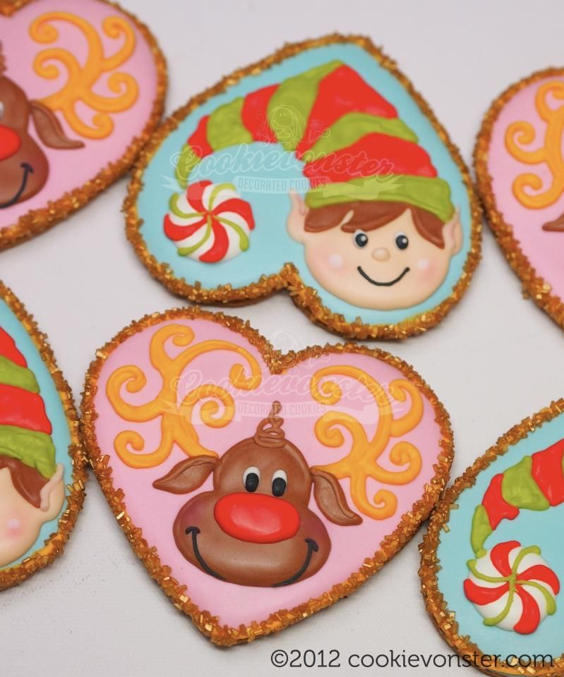 Christmas Elf And Reindeer Heart Cookie Cutter Cookies Using