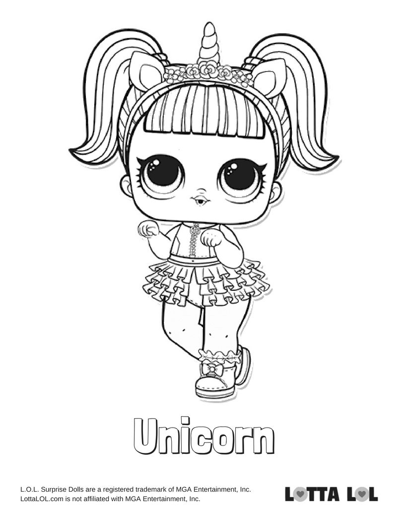 Unicorn Coloring Page Lotta Lol Lol Surprise Series 3 Confetti