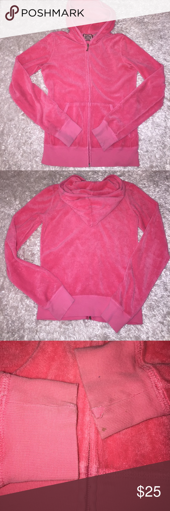 Juicy Couture Terry Cloth Zip Up Size P, fits as a S. Great condition, gentle signs of wear at bottom of sleeves. Color is hot pink, terry cloth material. Feel free to ask any questions! No trades sorry, & offers thru the offer button only! .. Juicy Couture Jackets & Coats