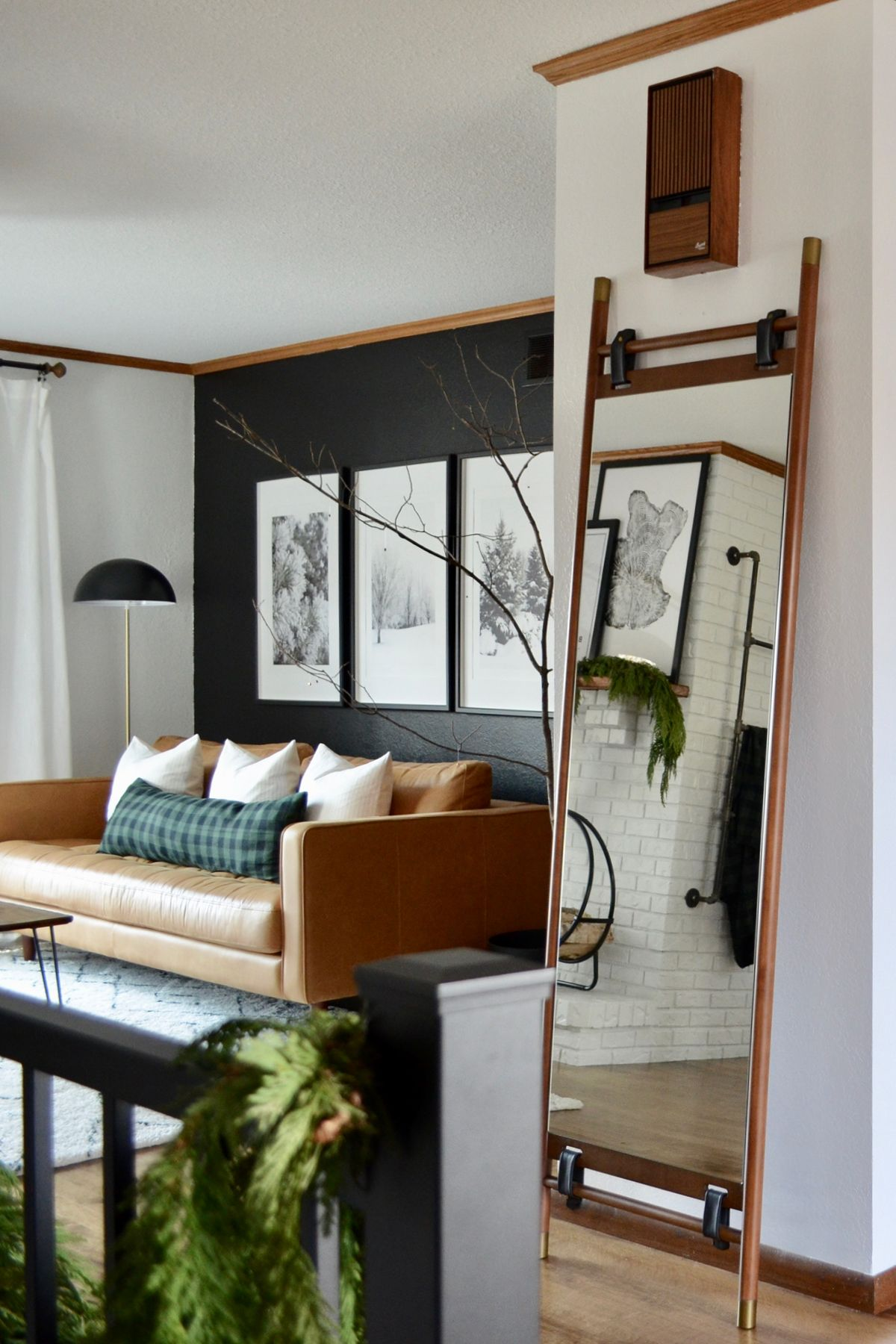 Mirror Mirror In The Hall Or In The Living Room The Beau Mirror Is A Versati Black Accent Wall Living Room Accent Walls In Living Room Living Room Mirrors
