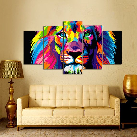 Painting Colorful Lion animal wall canvas - Rainbow Lion canvas ...