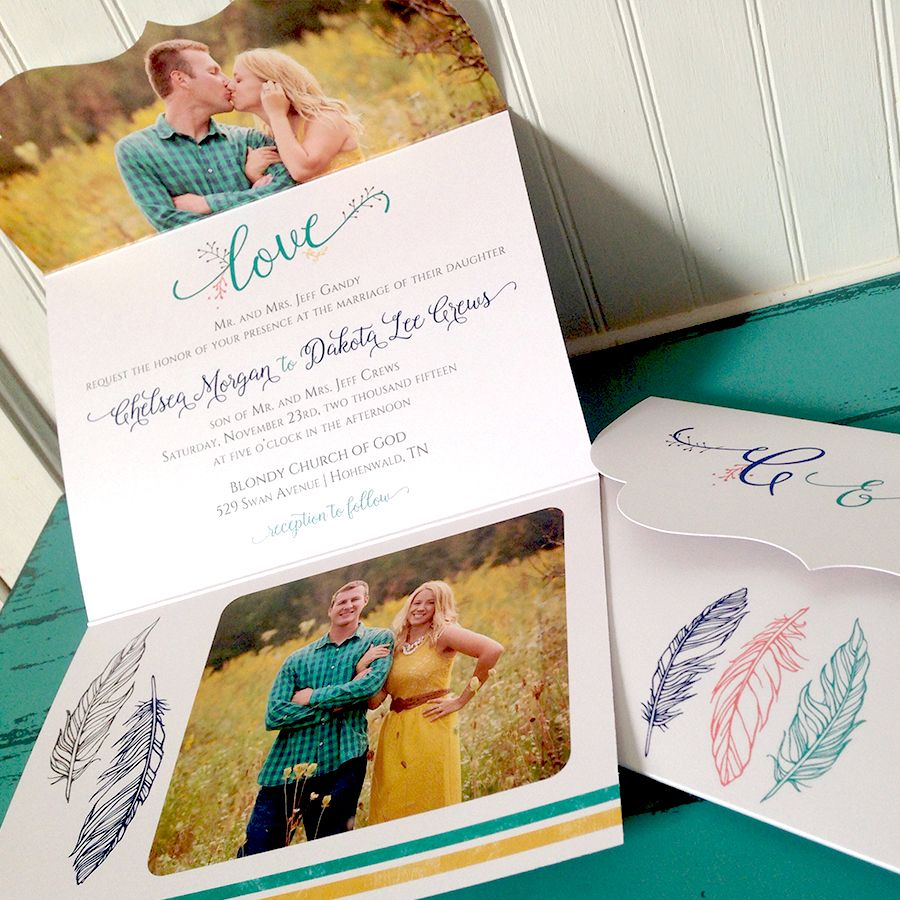 Boho Tribal Chic Wedding Invitations with feathers and turquoise.  Designed by Jeneze.