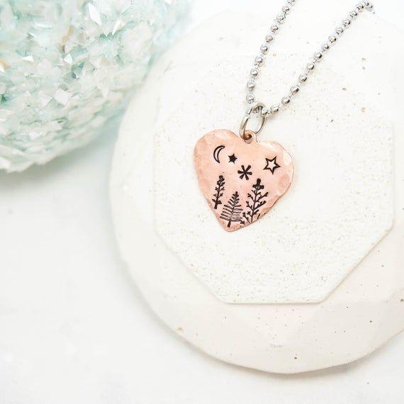 Photo of Tree Necklace, Celestial Jewelry, Dainty Necklace, Forest Jewelry, Moon Necklace…