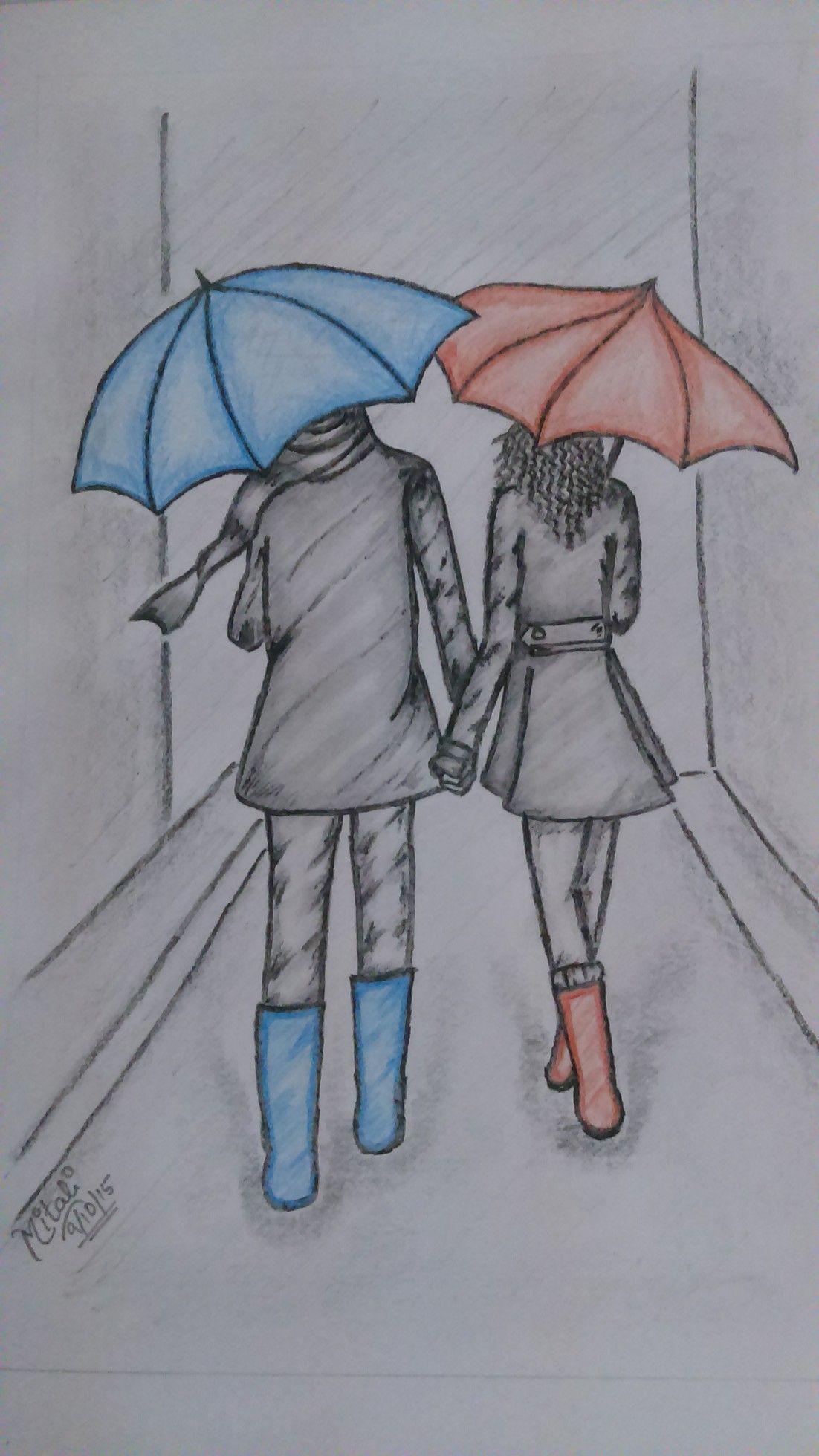 Sketch couple walking in rain sketch pencilsketch colour