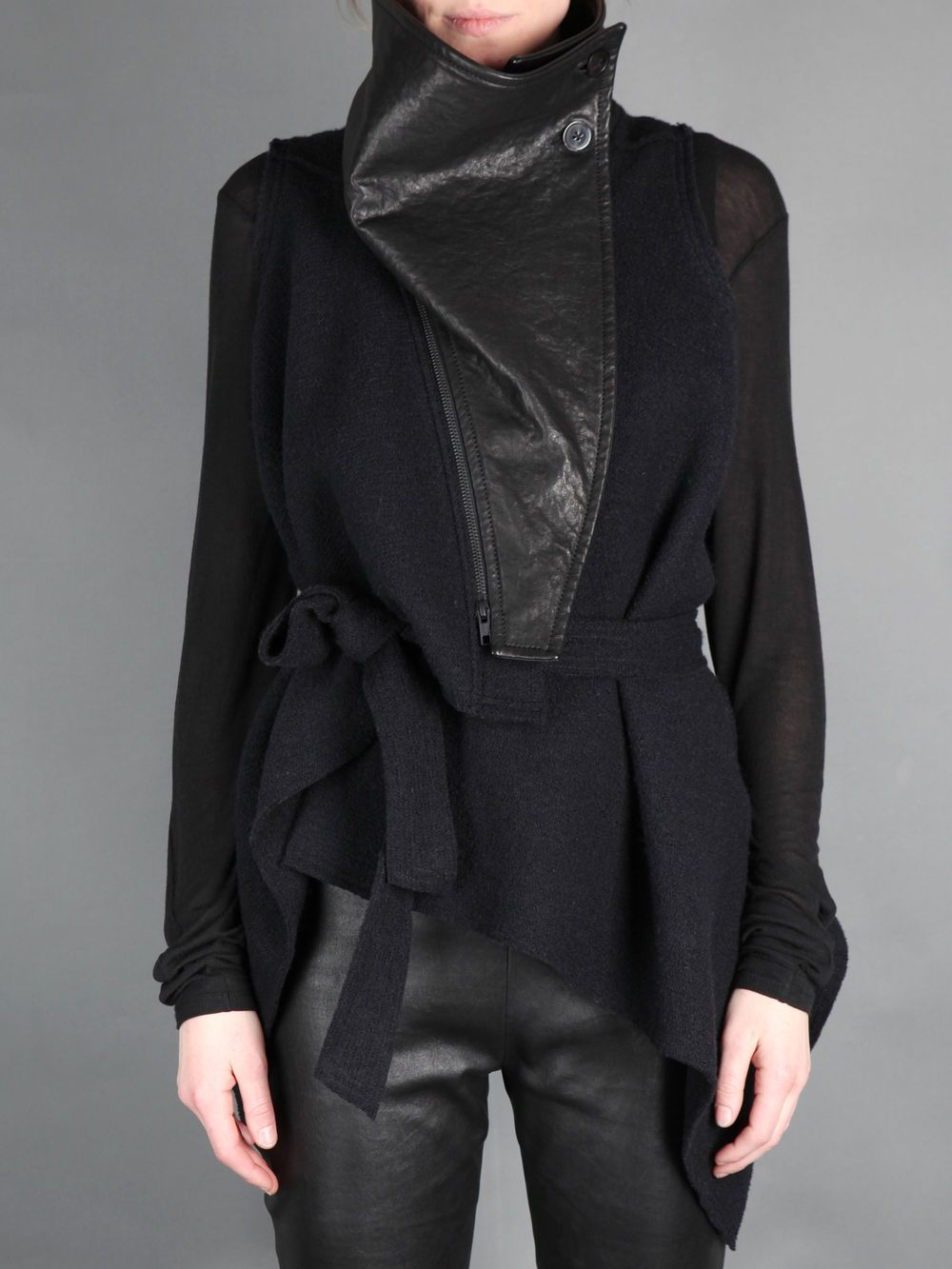 ANN DEMEULEMEESTER   waistcoat with belt closure & detachable leather front piece