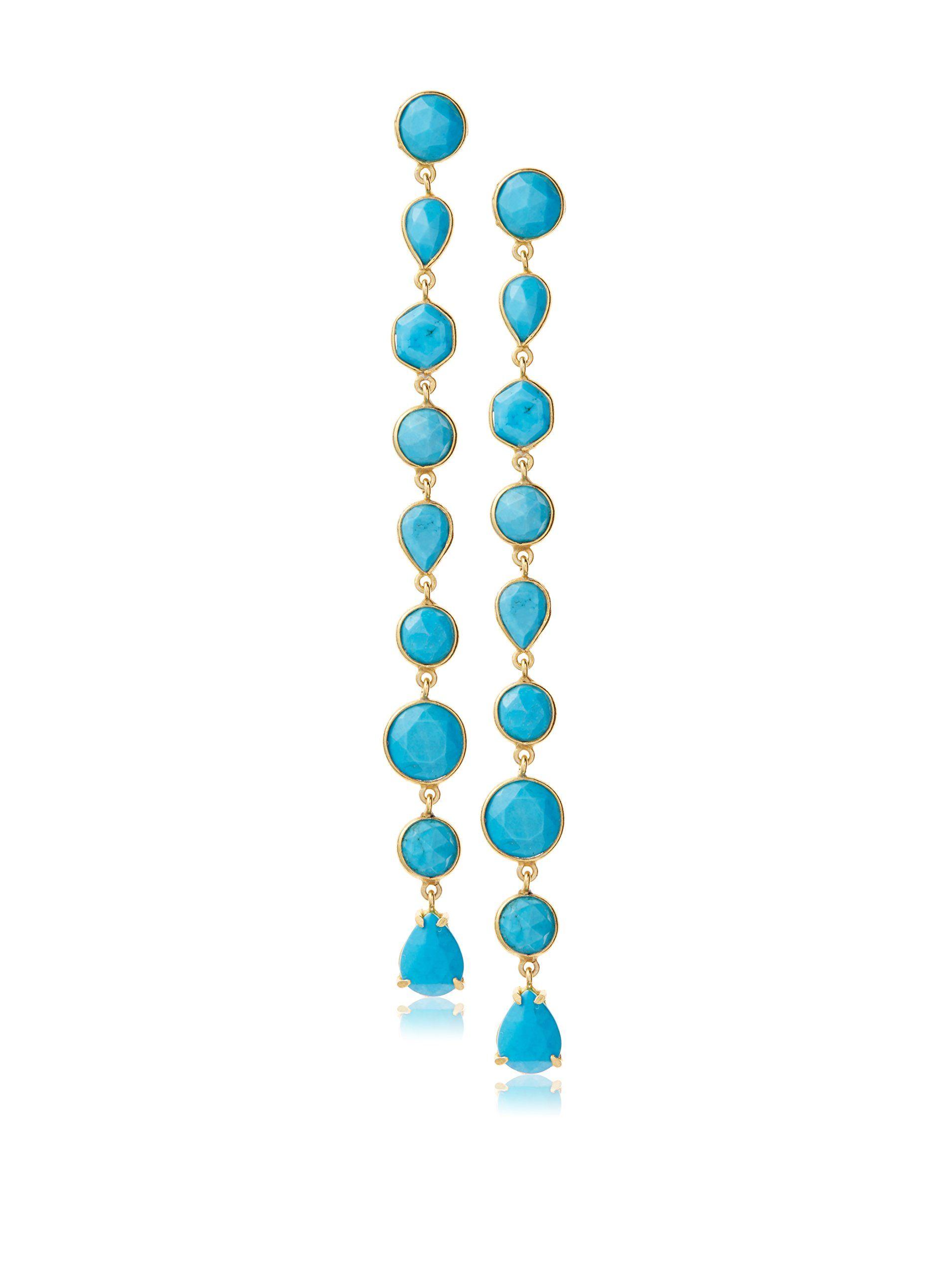 Heather Hawkins Turquoise Linear Bezel Earrings at MYHABIT