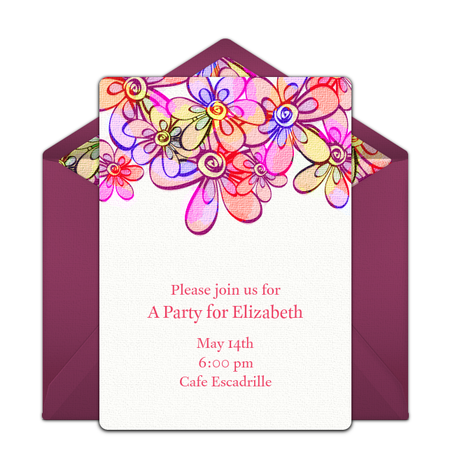 Free Bright Flowers Invitations