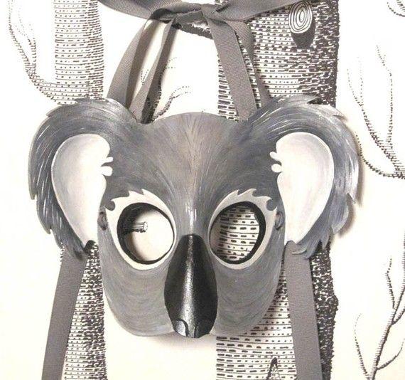 Koala Leather Mask, Child Size - Made to Order