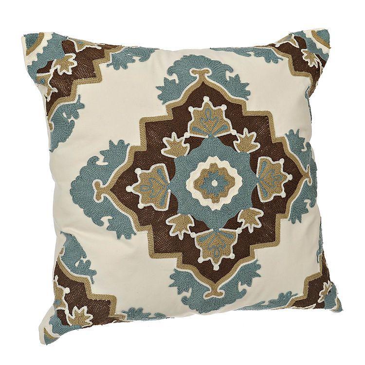 Aqua and Brown Aztec Medallion Pillow   Kirklands