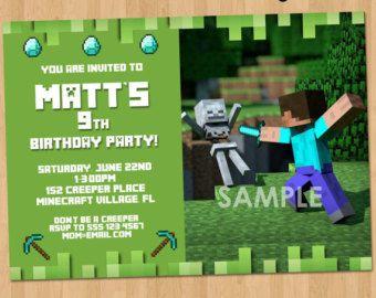 Minecraft Birthday Invitation Printable Minecraft Invitation
