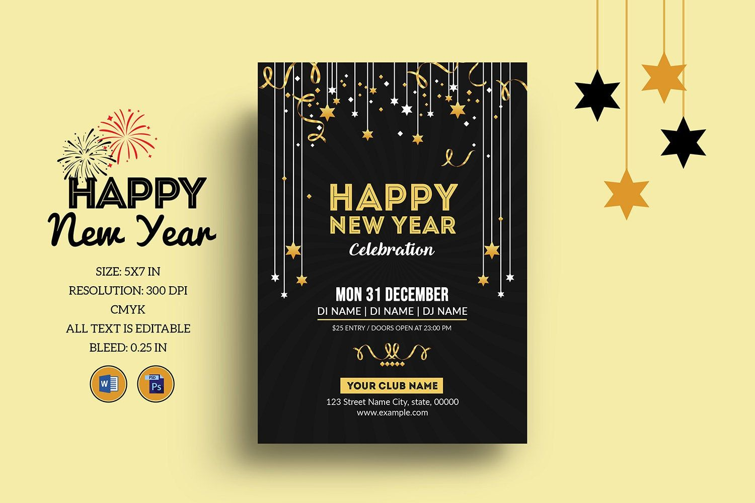 New Year Party Flyer New Year Invitation Template Ms Word And Photoshop Template Instant Download Party Flyer New Years Party Invitation Template